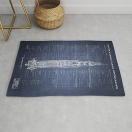 Apollo 11 Saturn V Blueprint in High Resolution (dark blue) Rug