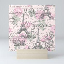 Rustic French Spring Pink Floral Chandelier Scripts Crown Modern Vintage Paris Eiffel Tower  Mini Art Print