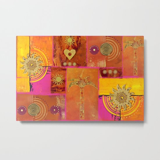 Oriental Sun Original Painting Gold Orange Metal Print