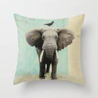 african Throw Pillows featuring friends for life  by Vin Zzep