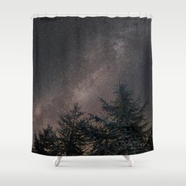 Milky way over the deep forest. Cygnus and North America Nebula Shower Curtain