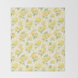 Modern  sunshine yellow green hortensia flowers Throw Blanket