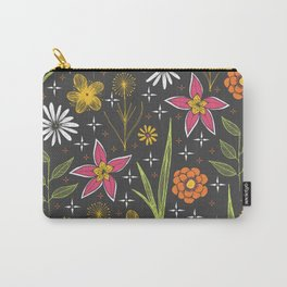 bright retro floral print Carry-All Pouch