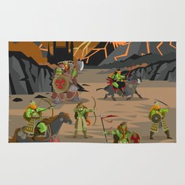 evil orcs in the castle valley Rug