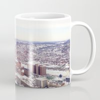 pittsburgh Mugs featuring Ice Pittsburgh by clairemac