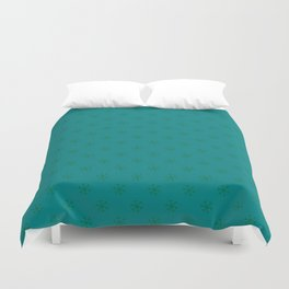 Cadmium Green on Teal Green Snowflakes Duvet Cover