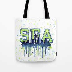 Seattle 12th Man Art Watercolor Space Needle Painting Tote Bag