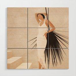 Minimal Woman with a Palm Leaf Wood Wall Art