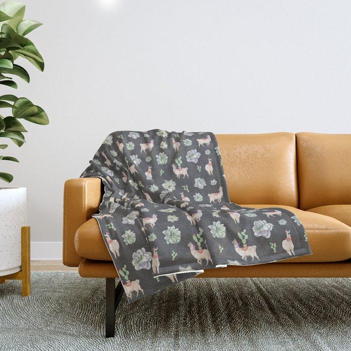 Cute Llamas & Amaryllis Floral Pattern Throw Blanket