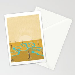 A stream of water in warm yellow desert Stationery Cards