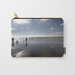 Dog walking on Caswell beach, Swansea in winter Carry-All Pouch