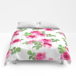 Raspberry Pink Painted Roses on White Comforters