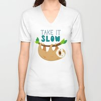 sloth V-neck T-shirts featuring Sloth by Claire Lordon