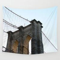 brooklyn bridge Wall Tapestries featuring Brooklyn Bridge by Christian Hernandez