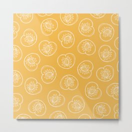 Line Drawn Peaches on Golden Yellow Metal Print