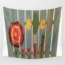 Fence Row Woodpecker Wall Tapestry