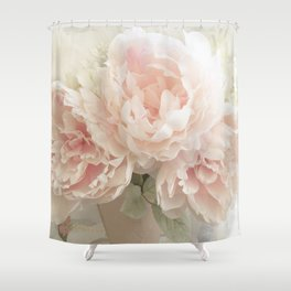Shabby Chic Cottage Pastel Pink Peony Prints and Peony Home Decor Shower Curtain