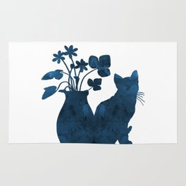 Cat And Flowers Rug