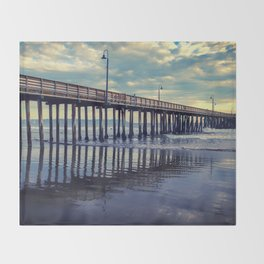Just Wondering along the beach at Cayucos Pier Throw Blanket
