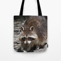 racoon Tote Bags featuring Racoon by MehrFarbeimLeben
