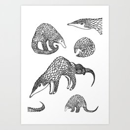 Animal Pattern, Pangolin, Manis, Monochrome Art, Black and white, Animals lovers gifts, Vets and pet Art Print