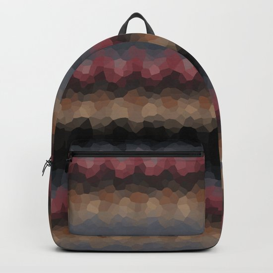 "Abstract pattern ""Black and red wave"" . Backpack"