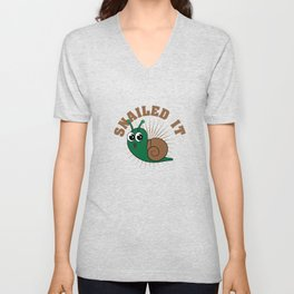 """Looking for a cute tee design that's perfect gift this holiday? Grab this """"Snailed it"""" tee now!  Unisex V-Neck"""
