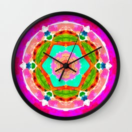 my rainbow heart mandala Wall Clock