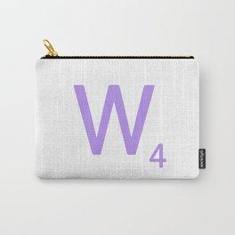 Mauve W Scrabble Monogram Art Carry-All Pouch
