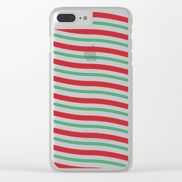 Red White and Green Christmas Candy Cane Pattern Clear iPhone Case