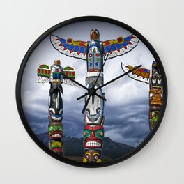 Colorful Totem Poles in the Northwest Wall Clock
