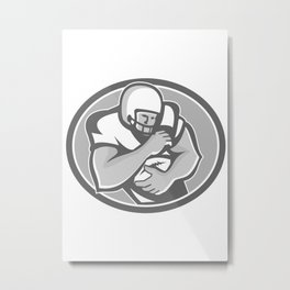 American Football Player Oval Grayscale Metal Print