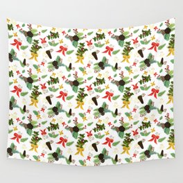 Berries and Bows on White Fabric Wall Tapestry