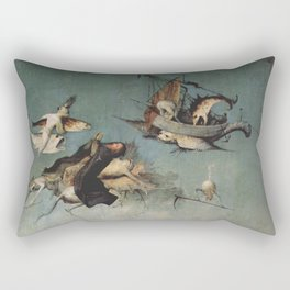 Hieronymus Bosch flying ships and creatures Rectangular Pillow