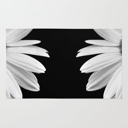 Half Daisy in Black and White Rug