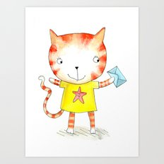Ginger kitten watercolour Art Print