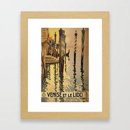 Vintage Travel Poster - Venise et le Lido - Vintage Italy Travel Poster Framed Art Print