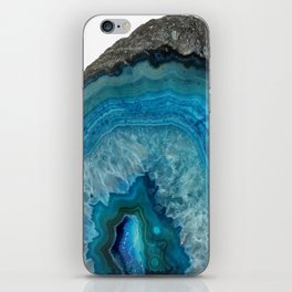 Blue agate, Marble, Faux Druse, Crystal, Quartz, Gem, Gemstone, iPhone Skin