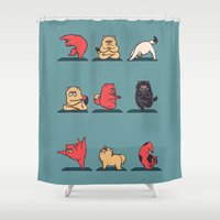huebucket Shower Curtains featuring Cat Yoga by Huebucket