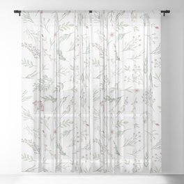 Ditsy Watercolor Flowers and Leaves Sheer Curtain