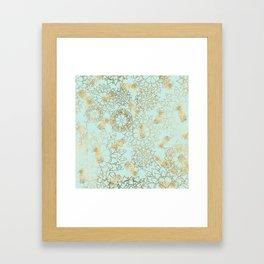 Modern teal faux gold pineapple floral illustration Framed Art Print