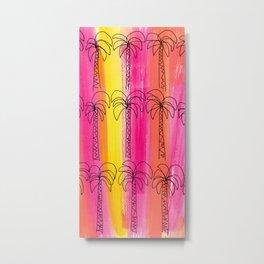 Palm trees pattern Pink summer beach illustration Metal Print