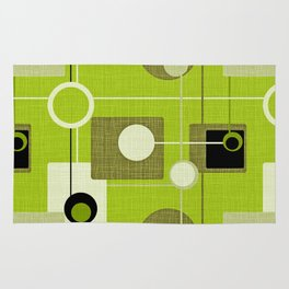 orbs and squares acid green Rug