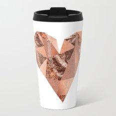 Rose gold geometric heart - glitter & foil Travel Mug