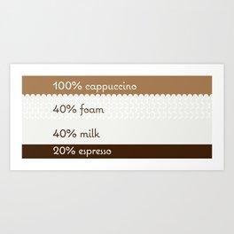 100% cappuccino Art Print