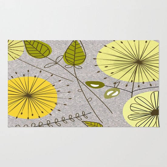 Mid Century Modern Floral Rug