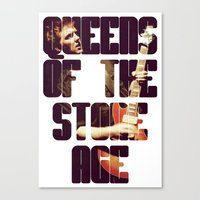 queens of the stone age Canvas Prints featuring Queens Of The Stone Age QOTSA Font Josh Homme Guitar by Fligo