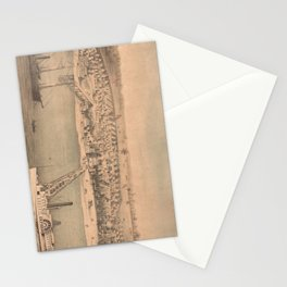 Vintage Pictorial Map of Newport News VA (1862) Stationery Cards