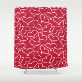 White Dotted Hearts Pattern on Red Background. White Hearts. Valentine Hearts. Pink Swirly Shower Curtain