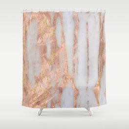 Aprillia - rose gold marble with gold flecks Shower Curtain